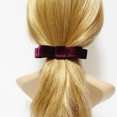 narrow flat velvet bow french bow barrette