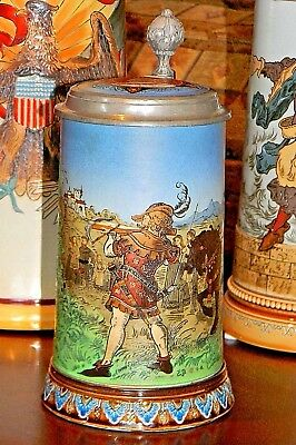 Antique 'William Tell' -  1/2 Liter  Mettlach Stein