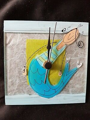 Hand made glass square clock with mermaid design