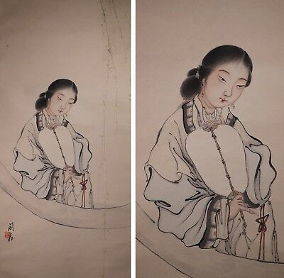 Early 20th Century Chinese Painting on Paper of a Female Figure
