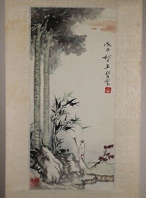 Vintage 20th Century Chinese Painting on Silk of a Male Figure in a Landscape