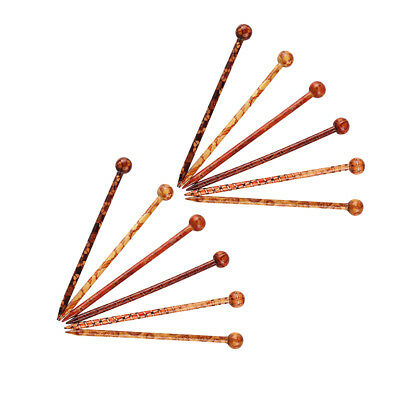 "12 Pcs 5.1"" Hair Sticks Printed Wood Hairpin Chopsticks DIY Hair Accessories"