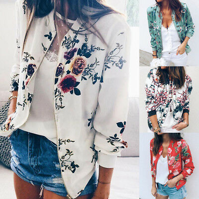 Latest Womens Ladies Floral Zipper Up Bomber Jacket Casual Coat Outwear Overcoat