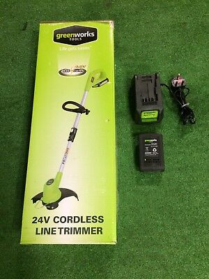 GREENWORKS CORDLESS 24v Line Trimmer Plus Charger And Battery