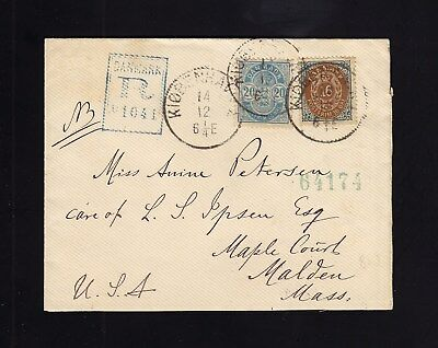 DENMARK: 1892 Registered Cover to USA, w/20 & 16 Ore Issues