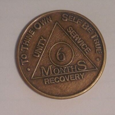 aa alcoholics anonymous 6 bronze month recovery sobrietY coin token medallion