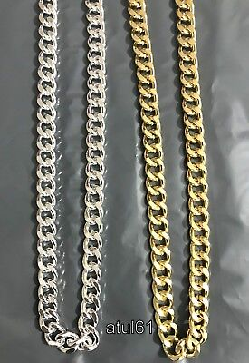 """Men's 24"""" Thick Gold Silver Plated Heavy Link Chain Chunky Curb Hip Hop Necklace"""