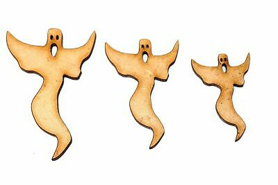 Wooden MDF Ghost Shapes Bunting Craft Embellishments Halloween Decoration