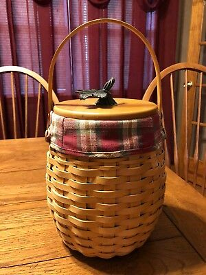 October Fields Longaberger Basket w/ Lid, Signed, 2000, Cloth/Plastic Liner, KIM