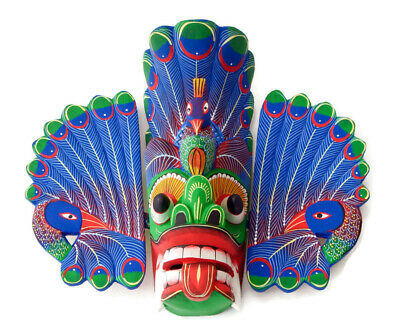 Vintage Wood Carved Mexican Mask Wall Hanging Tiki Home Decor Art Collectible 8""