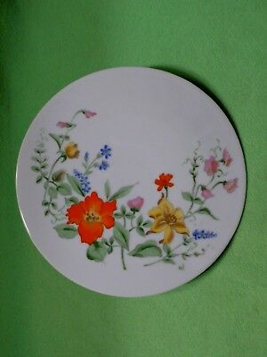 Vintage porcelain tea pot STAND or trivet with colorful wild flowers. Double