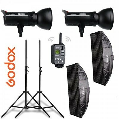 Kit 2 flashes Godox DS300II receptor interno, ventanas, pies y transmisor XT16