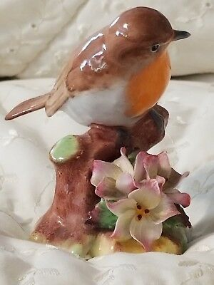 RAYBUR Staffordshire English Bone China Robin on Branch with Flowers Figure
