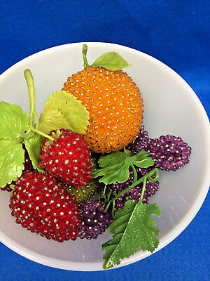 HAND MADE ART CRAFT JEWELED PIN BEADED FRUITS strawberry cherries pear grapes