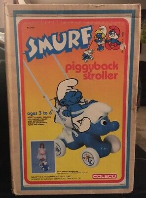 Smurf Doll Stroller. 1980's New In Box NIB Plush Dolls Cart Wagon Brand  Coleco