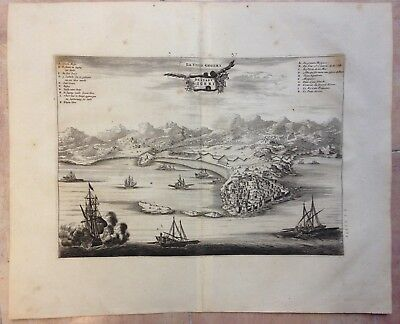 ALGERIA GIGERI 1676 Olfert DAPPER RARE ANTIQUE COPPER ENGRAVED VIEW 17e CENTURY