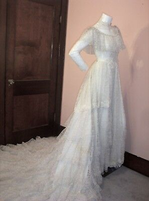 Vtg 1962 Ooak High End Southern Bell Wedding Dress Bridalgown Tiered Lace S/m