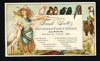 Victorian Advertising Trade Card - Notions Fancy Goods - Birds, Butterfly Woman