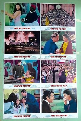 GONE WITH THE WIND 1968 ORIGINAL U.S. Lobby Cards COMPLETE Set (8) Clark Gable