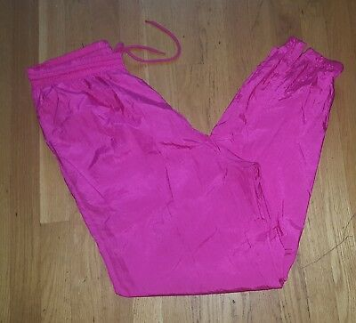 Vintage 80s 90s Womens Tapered Windbreaker Track Pants Neon Pink Large