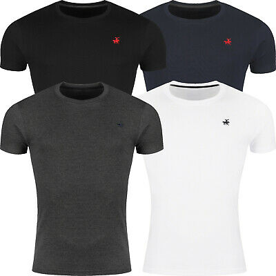 Mens Slim Fit T Shirt Short Sleeve Muscle Crew Neck Embroidered 100% Cotton Top