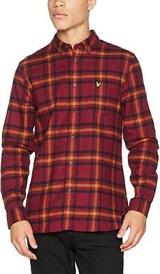 RRP £69.99 Lyle & Scott MenS Check Flannel Casual Shirt Red (Claret Jug) X-Small