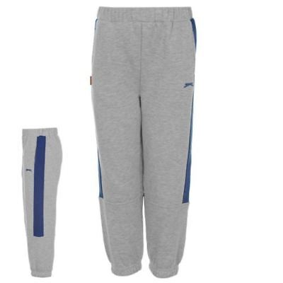 SLAZENGER Boys Grey & Blue Fleece Lined Sweatpants Joggers 3-4 Years NEW