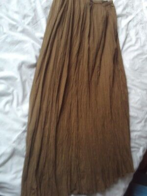 Ladies green crinkle maxi skirt in olive green, size Large, by East, fully lined