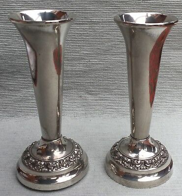Lovely pair of Ian Heath (Ianthe) silver plated vases