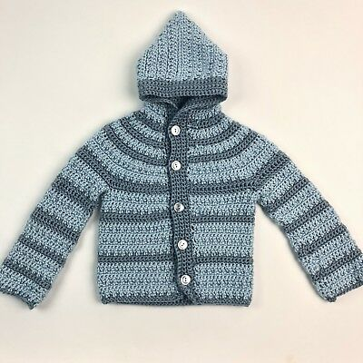 Vintage Handmade Knit Toddler Long Sleeve Hooded Sweater Blue Striped 2T 3T
