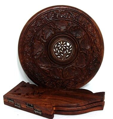 VTG Carved Indian Sheesham Wood with Inlay Flower Tripod Stand Plant Stand India