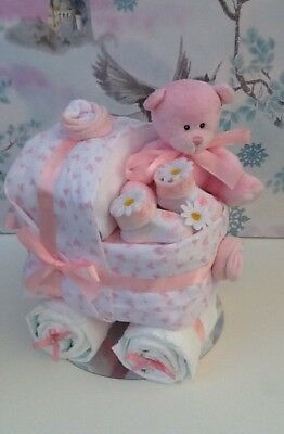 Baby Shower/Maternity Leave/New Mum/ Baby Pink and White Nappy Cake Pram