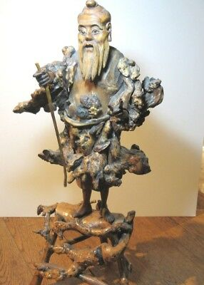 """Antique 19Th Century Large Chinese Bamboo Root Carving Elder Sage On Stand 22"""""""