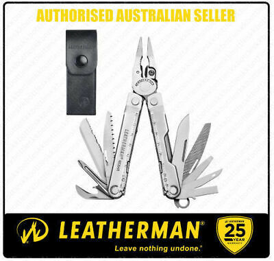Leatherman REBAR STD Stainless MultiTool +Leather Sheath + Classic Red