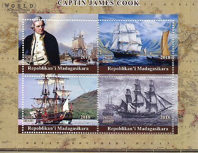 Madagascar 2018 CTO Captain James Cook Endeavour 4v M/S Boats Ships Stamps