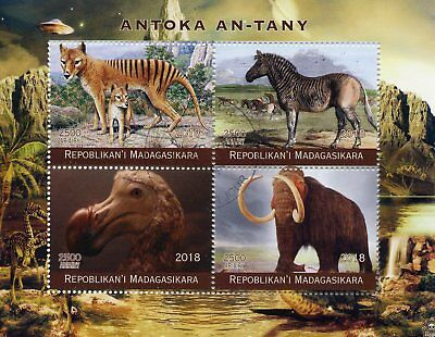 Madagascar 2018 CTO Prehistoric Extinct Animals Dodos Mammoths 4v M/S Stamps