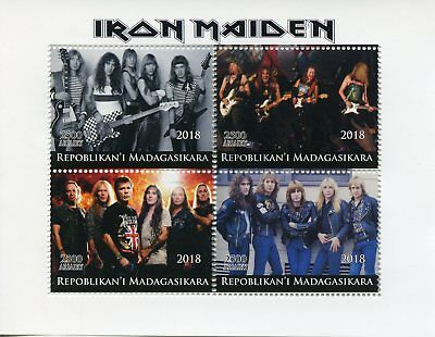 Madagascar 2018 CTO Iron Maiden Heavy Metal Band 4v M/S Music Guitars Stamps