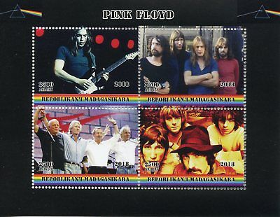 Madagascar 2018 CTO Pink Floyd Rock Band 4v M/S Music Guitars Stamps