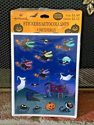 Vintage Hallmark Halloween Stickers Really Cute New Unopened 4 Sheets Witches