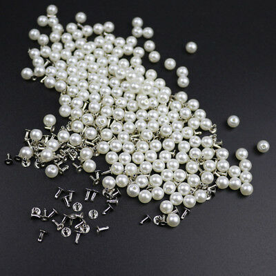 200PC 6MM Imitation Pearl Rivets DIY Garment Accessories Pearl Rivet Spikes J8I2