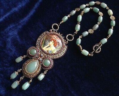 Handpainted Mother of pearl pendant Evening Mucha ART NOUVEAU beadwork Necklace