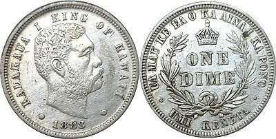 1883 10C Hawaii Silver Dime Extra Fine Details