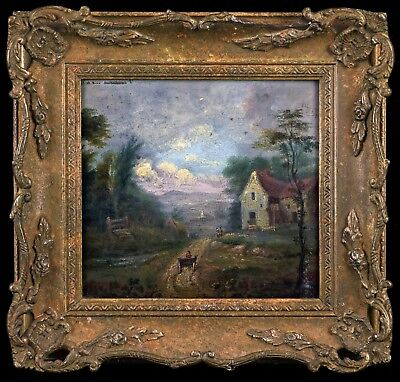 Returning Home - Small 19th Century Oil on Panel Antique Landscape Painting