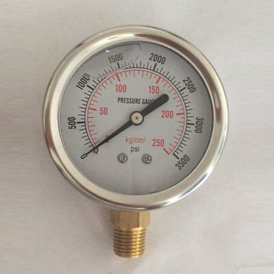 Pressure Gauge 40mm 50mm 63mm 100mm Dial Pneumatic Hydraulic 3500PSI Bar AZ