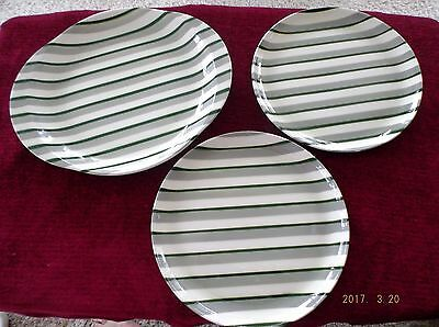 W.S. George Green/Gray/White Stripes 3 pcs. Platter and 2 Plates