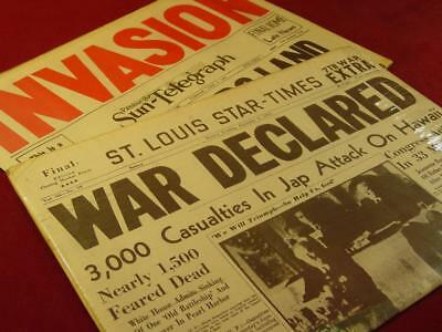 Vintage Wwii Historic Newspaper Lot Pearl Harbor Normandy Invasion Reproduction