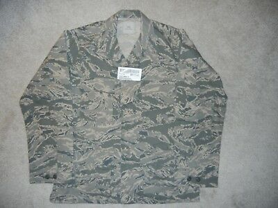 New Usaf Military Abu Tiger Stripe Camo Winter Shirt Coat Mens 44 Long With Tags