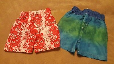 Baby Boy 12-18 Months swim trunks circo red white blue green lot of 2 summer