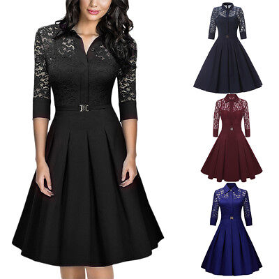 Women's Vintage Style 1950's Retro Rockabilly Evening Party Swing A-line Dress