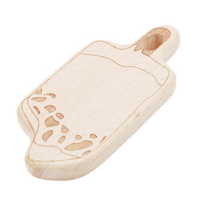 Ice Cream Wooden Natural Crochet Baby Infant Teether Teething Ring Toys Z